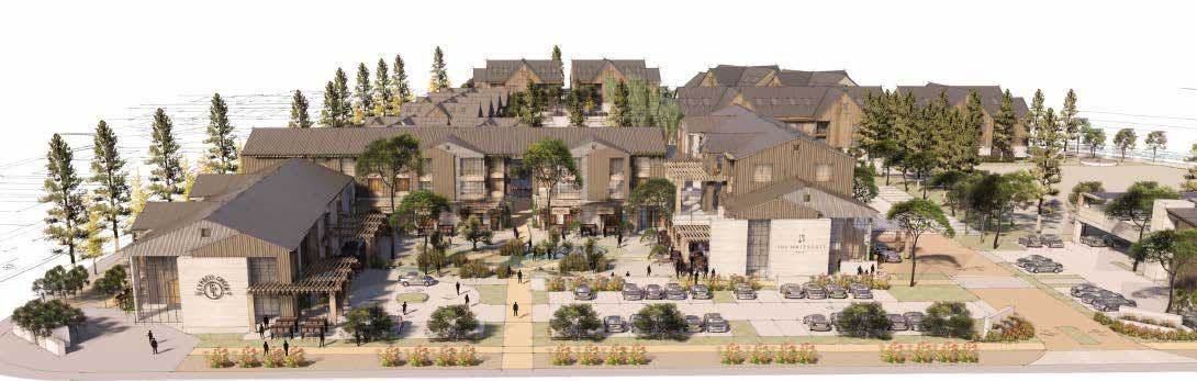 Architectural rendering of resort hotel portion of Lake House Development